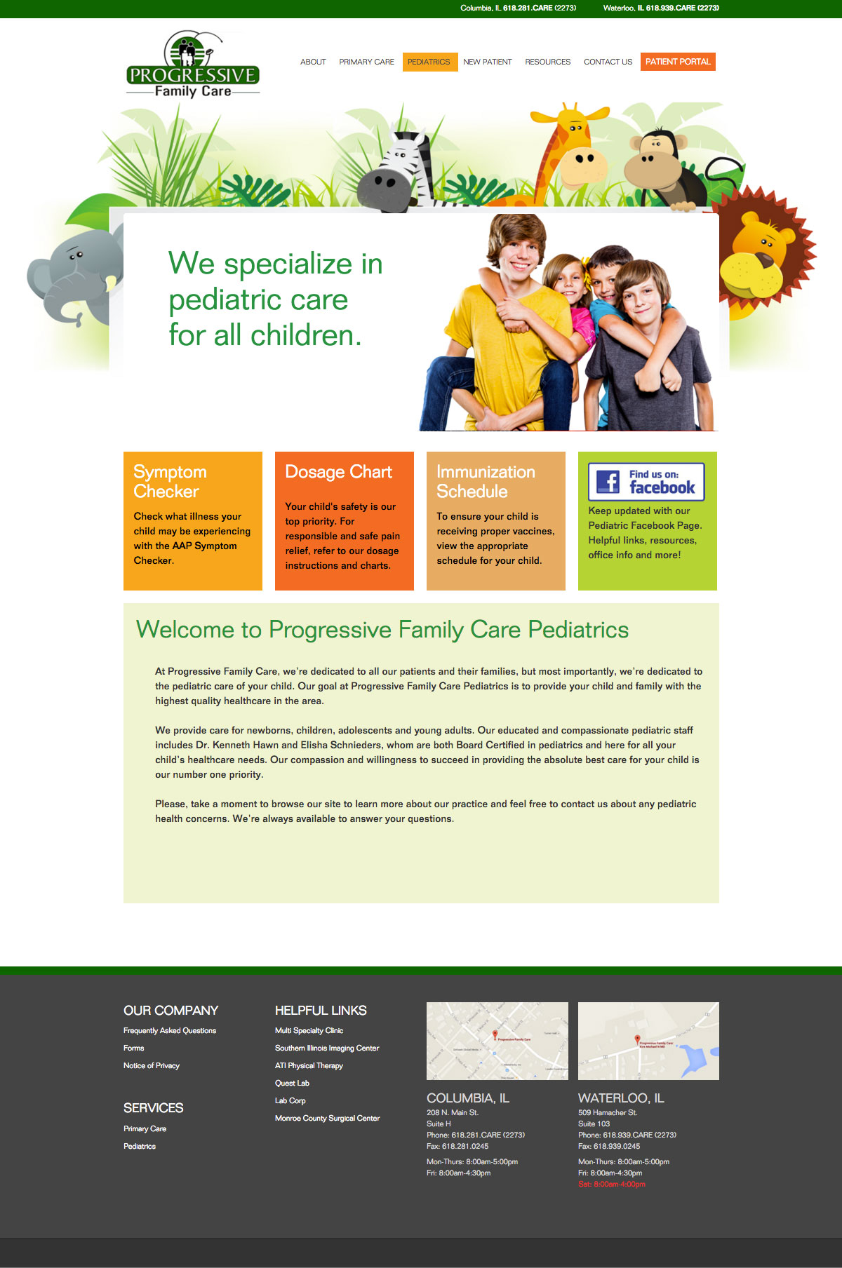 progressive family care website marketicity